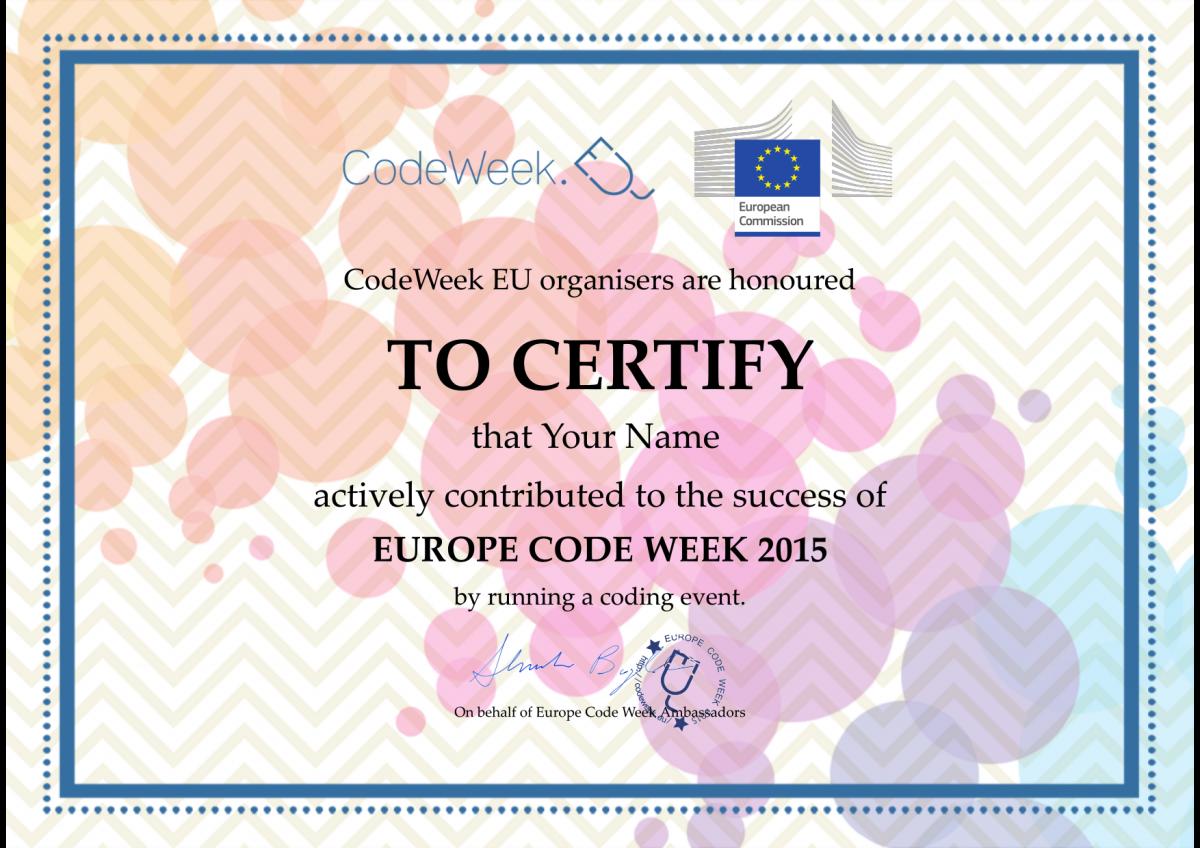 I vostri certificati CodeWeek2015